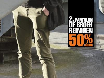 2de pantalon of broek reinigen 50% korting