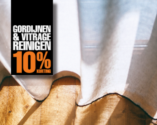 Gordijnen & vitrage reinigen 10% korting
